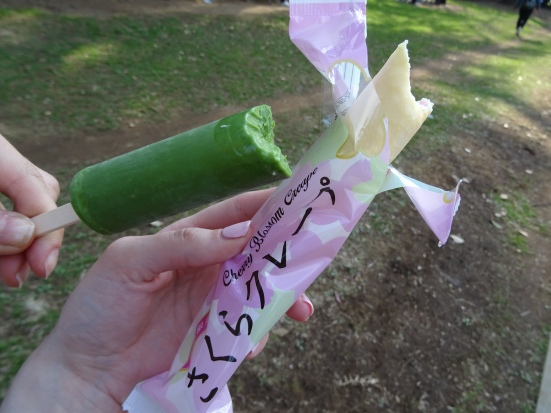 Green tea ice cream and sakura ice cream crepe. What does sakura taste like? Kind of perfumy and sweet.