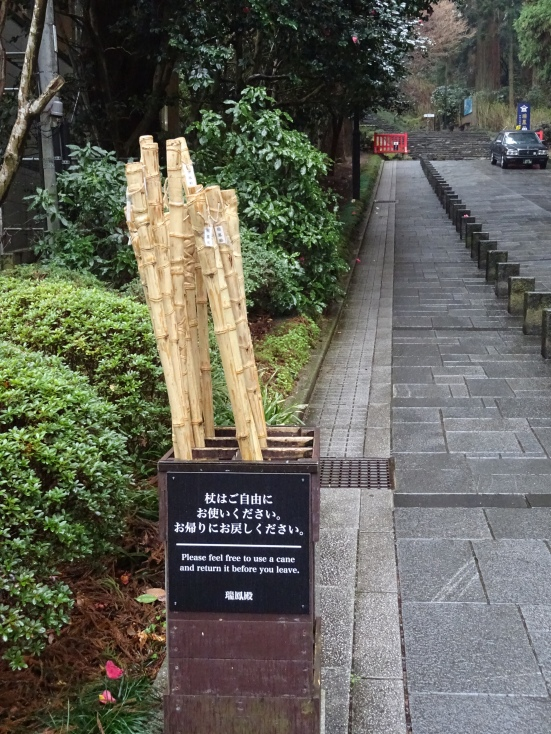 It was a steep climb, so there were bamboo walking sticks at the ready